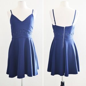 Dresses & Skirts - Dark Blue Tank Lace Waist Skater Dress Size M